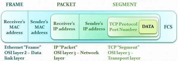 Difference between frame and packet